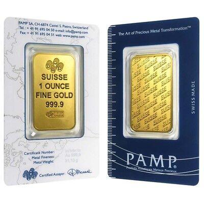 Купить 1 oz Gold Bar - PAMP Suisse - New Design (In Assay)