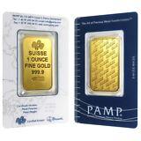 1 oz Gold Bar - PAMP Suisse - New Design (In Assay)