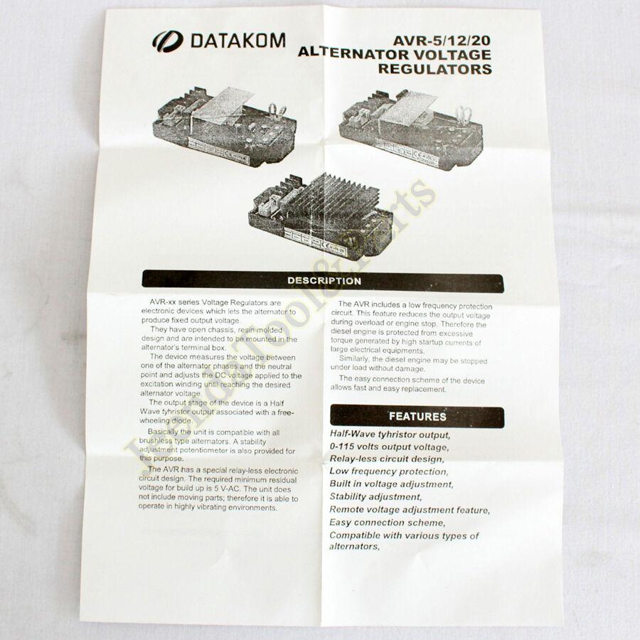 New Alternator Voltage Regulator Avr 5 For Datakom Brushless Type Volt Circuit Alternators