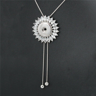 2018 White Sunflower Rhinestone Necklace Snap Button Fit Noosa Charm jewelry