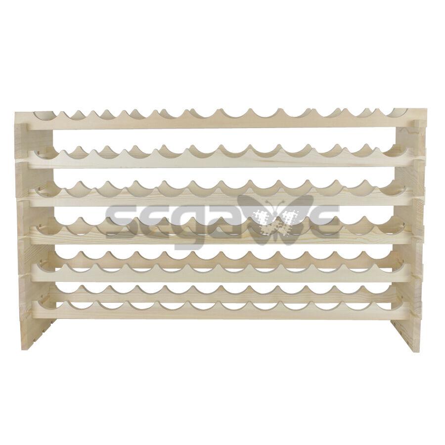 Holder Stackable Storage 72 Bottles Wine Rack 6 Tier Solid Wood Display Shelves Bar Tools & Accessories