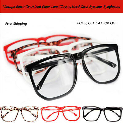 Big Lens Plain Glasses Tortoise Shell Oversized Geek Fashion Nerd Retro Clear (Tortoise Shell Mens Glasses)