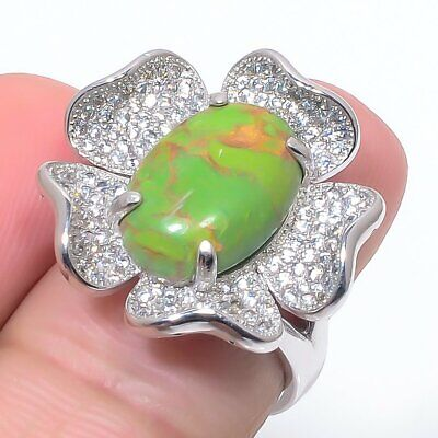 Copper Green Turquoise, Cz 925 Sterling Silver Jewelry Ring S.Ad R468-188 - $0.01