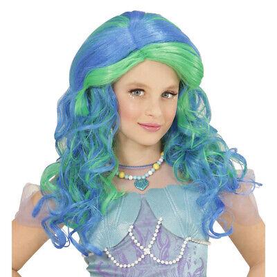 Blaue Kinder MEERJUNGFRAU PERÜCKE Karenval Fee Nixe Märchen Mädchen Kostüm Fest