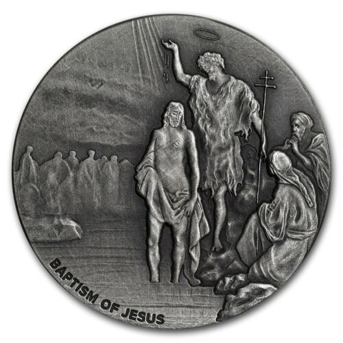 2017 Biblical Series The Baptism Of Jesus 2 oz Silver Antiqued Coin W/OMP & COA