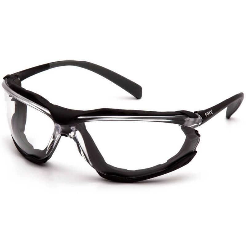 Pyramex Proximity Safety Glasses Foam Padded Black Frame Clear Anti-Fog Lens