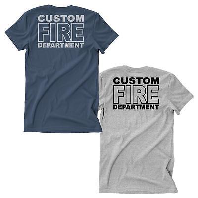 Fireman Custome (Firefighter Custom Duty Fire Department T-Shirt Navy Blue Sports Grey )