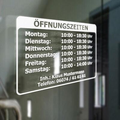 Öffnungszeiten Geschäftszeiten Inhaber Aufkleber - Schaufenster Schild 30x20 cm