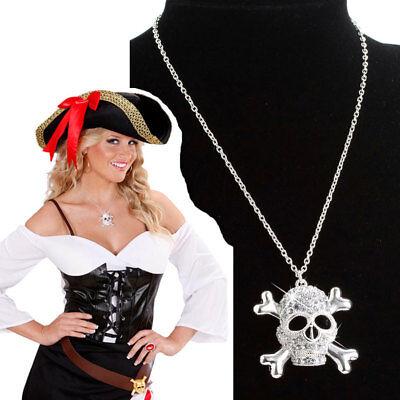 STRASS TOTENKOPF KETTE Seeräuber Pirat Braut Piratin Damen Kostüm Zubehör - Tote Braut Kostüm Zubehör