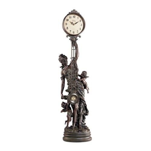 "35"" Large Antique Style Replica Victorian Goddess Swinging Pendulum Clock"