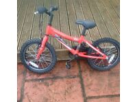 """Kids bicycle. Adventure 160, Red and Black with stabilisers, 16"""" wheel"""