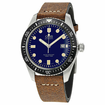 New Oris Diver 65 Blue Dial Leather Strap Mens Watch 73377204055LS