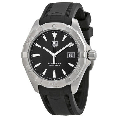 Tag Heuer Aquaracer Black Dial Black Rubber Mens Watch WAY1110.FT8021
