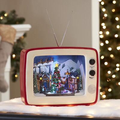 SHARP RARE HTF Holiday Living LED Animated Musical TV XMAS VILLAGE SCENE