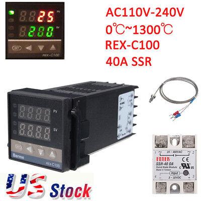 Rex-c100 Digital Alarm Pid Temperature Controller Machine 01300 Ac110-240v