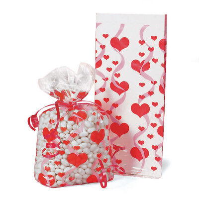 24 Red Heart Print Cellophane Bags VALENTINES DAY Party FAVORS loot treats](Valentines Day Party)