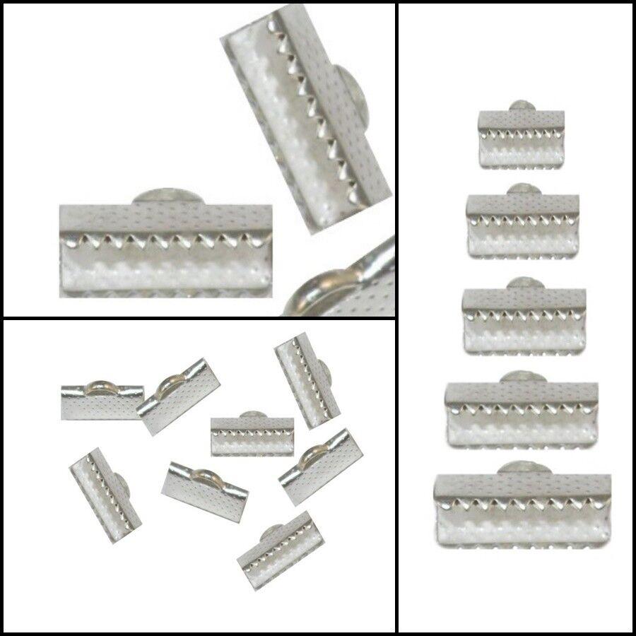 Metall Silber Endkappen Verbinder Verschluss Krokodil 6/8/10/13/16 mm Wahlen