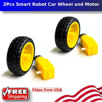 2 Sets - Smart Robot Car Wheel W Dc 6v Gear Motor Set For Arduino