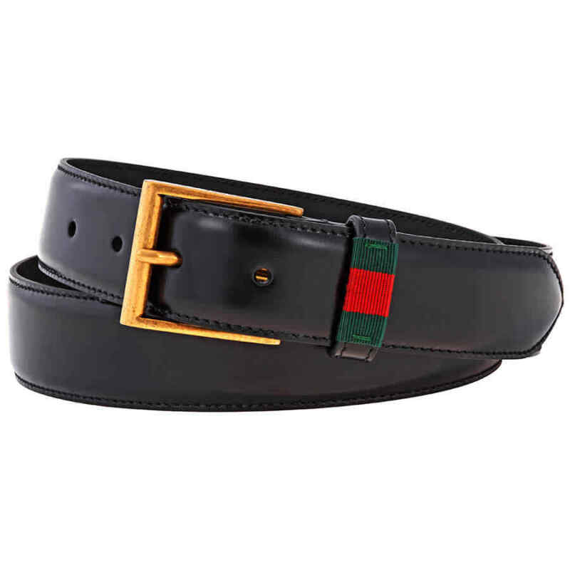Gucci Men Leather Belt with Red/Green Web