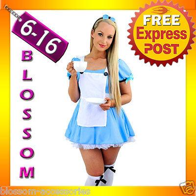 Alice In Wonderland Dress Up (F42 Alice in Wonderland Ladies Disney Fancy Dress Up Party Halloween Costume )