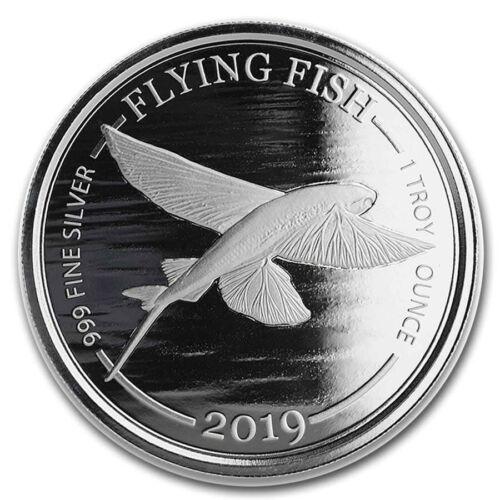 2019 Barbados 1 oz Silver Flying Fish BU (In Capsule)