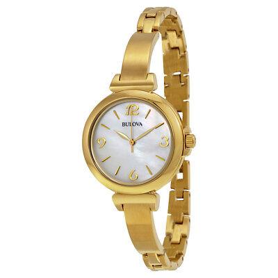 Bulova Women's Quartz Mother of Pearl Dial Gold-Tone Bracelet 30mm Watch 97L136 Bulova Mother Of Pearl Bracelet