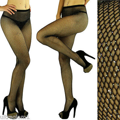Black - Silver GLITTER FISHNET Seemless PANTYHOSE/TIGHTS/CROSSDRESSER/DRAG QUEEN - Glitter Pantyhose