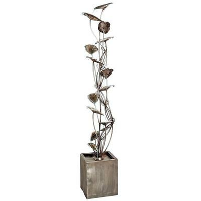 FU71592 - Wandering Leaf Cascading Metal Tower Fountain w/Pump - 7' Tall!