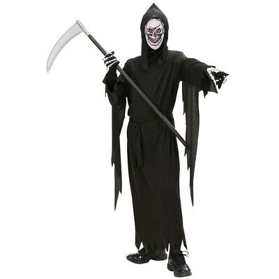 KINDER SENSENMANN KOSTÜM & MASKE # Halloween Jungen Tod Skelett 128-140-158 (Kind Sensenmann Kostüme)