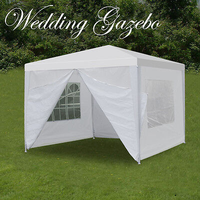 10' x 10' Outdoor Canopy Party Wedding Tent Gazebo Pavilion w/4 Side Walls -