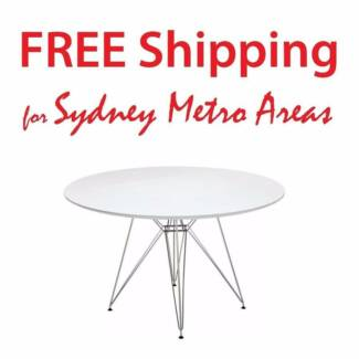 SALE - Eames Style Steel Leg Dining Table (dia 120cm)