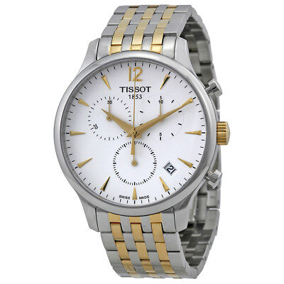Tissot T-Classic Tradition Chronograph White Dial Two-tone Mens Watch