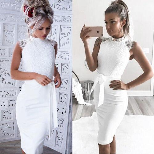 963c4eadab3e0a ... Maxikleid Party Crop Tops Strandkleid Sexy Weiß, Damen Sexy Abend Party  Cocktail Mini Spitzenkleid Bodycon Hochzeit Brautjungfern ...