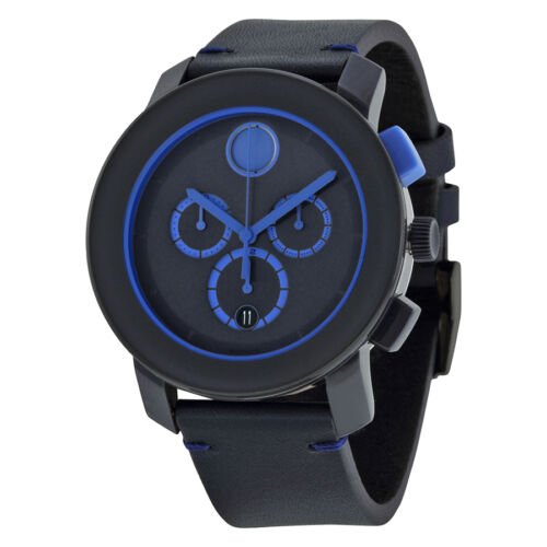 $216.99 - Movado Bold Chronograph Navy Blue Dial Blue Leather Mens Watch 3600349
