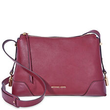 Michael Kors Crosby Medium Pebbled Leather Messenger Bag- Oxblood 30H8GCBM2L-610