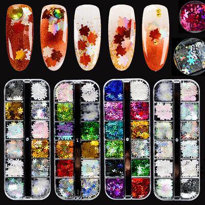 Mix Christmas Snowflake Maple Leaf Nails Sequins Nail Art Glitter Manicure Decor ()