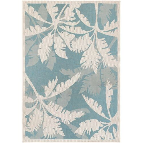 Couristan Monaco Coastal Floral Ivory & Turquoise Indoor/Out