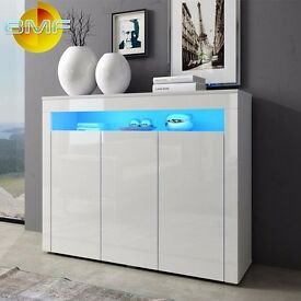 White High Gloss Modern Cabinet Sideboard Cupboard 130cm Buffet with 3 Doors - RGB LED Lights