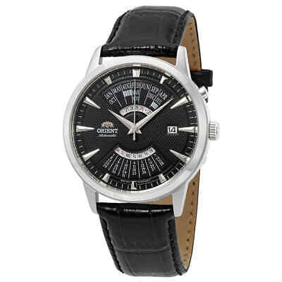 Orient Perpetual Calendar World Time Automatic Black Dial Men's Watch FEU0A004BH Dial Automatic Leather Watch