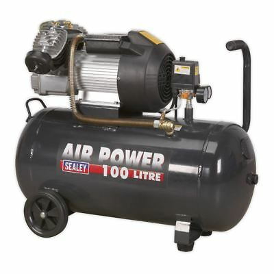 Sealey SAC10030VE Portable Compressor 100 Litre V-Twin Direct Drive 3hp 240v
