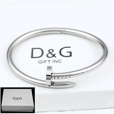 "DG Men's 7"" Stainless Steel,silver,Round Nail Bangle Bracelet Unisex + Box"