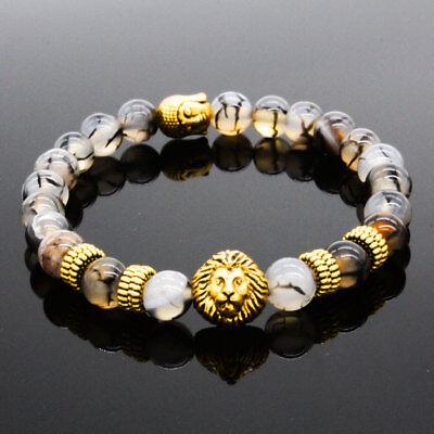 DouVei Fashion Women 8MM Natural Stone Lion Buddha Beaded Men's Charm Bracelets - Beaded Charm Bracelets