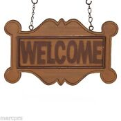 Wood Carved Welcome Sign