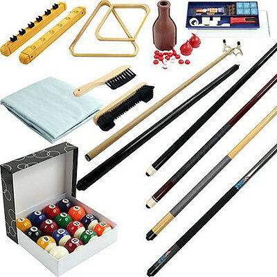 32 piece Billiards Accessories Kit - Pool Table - Balls, Cues, Triangle, racks