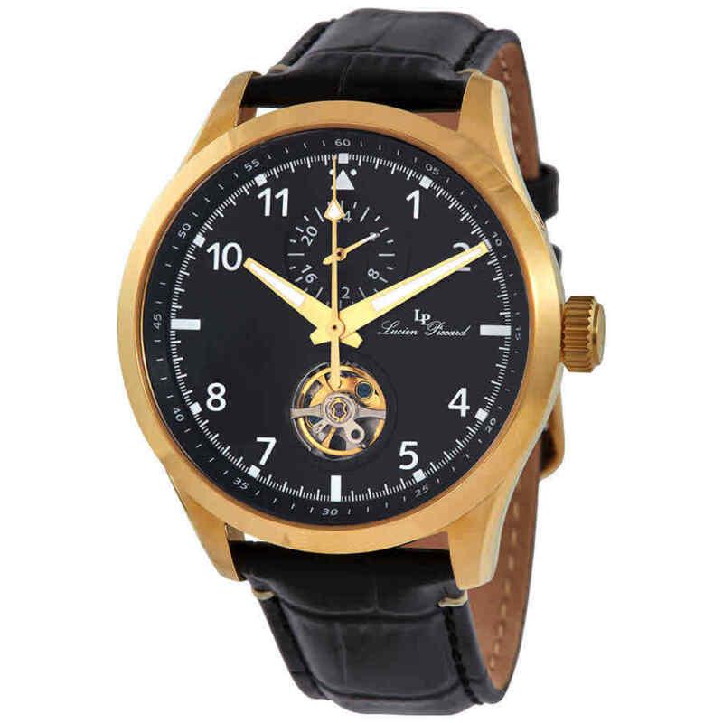 Lucien Piccard GMT Open Heart Automatic Black Dial Men Watch 1295A4