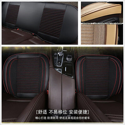 3X Black PU Leather+Fabric Comfortable Seat Cover Cushion Front+Rear For Car SUV