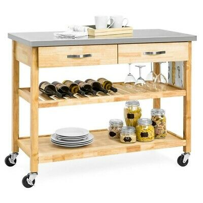 Kitchen Island Utility Cart Stainless Steel Table Top Rolling Serving Food Prep