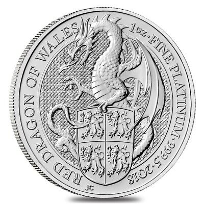 2018 Great Britain 1 oz Platinum Queen's Beasts (Red Dragon) Coin .9995 Fine BU