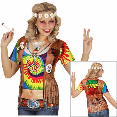3D HIPPIE DAMEN SHIRT Karneval 60er 70er Jahre Flower Power Kostüm Hemd Top - Hippie Shirt Kostüm