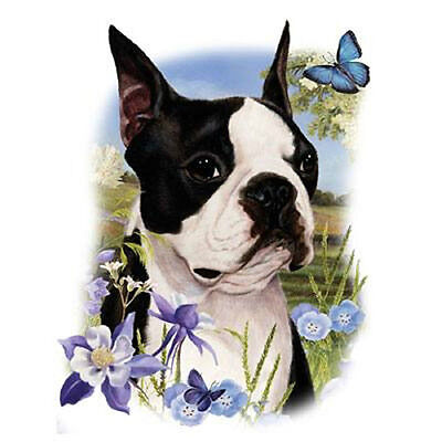 "BOSTON TERRIER with Flowers -One Lg 18"" x 22"" Panel to Quilt-Sew.Picture is 9x11 comprar usado  Enviando para Brazil"